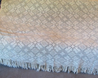 """Crochet Bedspread - Vintage Large Handmade - Cream White - 90"""" by 85"""" Plus 5"""" Fringe - Great Condition"""