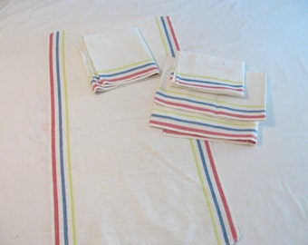 Vintage Kitchen Tea / Hand Towel - Red Blue Yellow Stripe - Linen - Like New Condition - Selling by Each