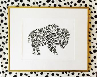 """16x20"""" matted buffalo print"""