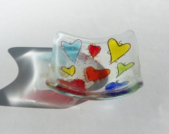 Hearts and Bubbles // Fused GLass Dish // Fun // Whimsical // Colorful  // Valentine // Wedding // Anniversary // Trinket // Rings // Bright