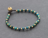Chrysocolla Brass Basic Bracelet