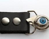 Evil Eye belt buckle life size in solid white bronze made in NYC
