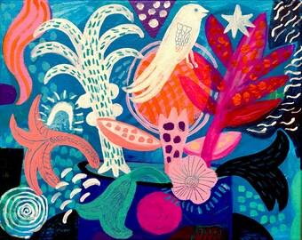 Barbieri- original painting. Wall art,wall decor, Folk, bohemian, funky flowers, flowers print, floral art.