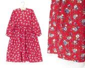 Little Girl's Dress * Red Floral Dress * Vintage Pinafore Dress * child size 6