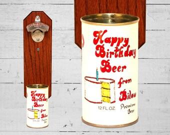 Happy Birthday Bottle Opener with Vintage Bilow Beer Can Cap Catcher - Birthday Gift