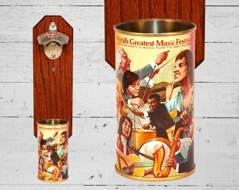 Father's Day Gift Music Festival Bottle Opener with Vintage Graf's Root Beer Can Cap Catcher, Great Gift for Groomsmen or Music Lover