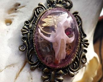Taxidermy Rat Skull Shadowbox Necklace - Emma in Bronze & Pink