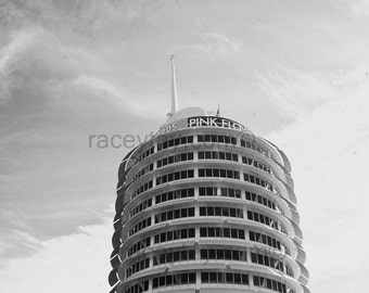 Los Angeles Photography, Capitol Records, Retro Decor, Black and White California Print, Rock and Roll
