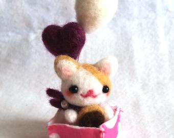 FREE SHIPPING Miniature Cat Doll, Needle Felt Cat Doll, Tiny Cat Doll, Kawaii Cat Doll, Cat Figurine