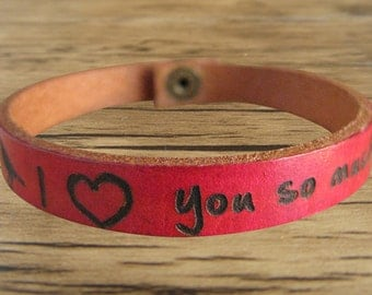Free Shipping - leather bracelet / leather cuff / leather wrap, custom engraved bracelet