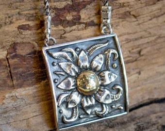 Yellow gold necklace, mixed metal necklace, oxidized silver pendant, sunflower pendant, sterling silver necklace -  Sunflower N0427A