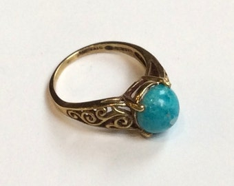 Turquoise ring, Cocktail ring, golden Brass ring, simple ring, engagement ring, ornate ring, boho ring, gemstone ring - A Celebration RK2219