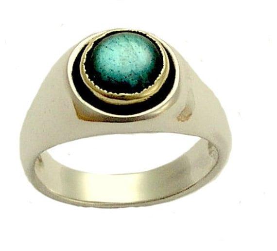 Labradorite ring, unisex ring, sterling silver ring, silver gold ring, unisex ring, two tones ring, gemstone ring - Telepathy R1499A