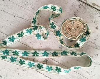 Vintage Ivy Ribbon, 1950s Woven Cotton Green Leaf Jacquard Ribbon Trim, One Yard, Craft Supplies, Sewing & Needlecraft Supplies, Trim Tapes