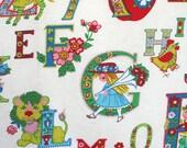 Vintage nursery curtains. Juvenile print, alphabet print, cotton, animal print, book characters, colorful, retro material, repurposing