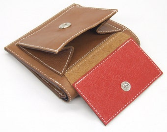 Tan leather wallet with 6 card slots, notes pocket and external coin pocket