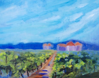 Villa in the Italian Vineyard Modern Impressionist Original Oil Painting by Rebecca Croft