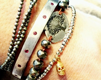 Pyrite Gemstone Silk Hand Knotted Bracelet with Tree of Life Sterling Silver Charm