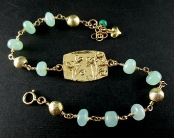 Chrysoprase Bracelet, Gold Chrysoprase Bracelet, Gold Fill Wire Wrapped Rosary Bracelet, Floral Heart Link, Lime Green Gemstone Jewelry Luxe