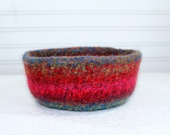 Large Multi-Colored Wool Felted Bowl, Blue, Green, Red, Pink Wool Felt Bowl, Knit Felt Wool Bowl, Felted Wool Home Decor Bowl, Storage Bowl