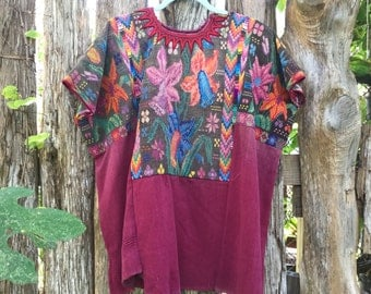 Vintage hand woven GUATEMALAN huipil tunic top / flame stitched collar / extensive hand cross stitch / wearable folk art