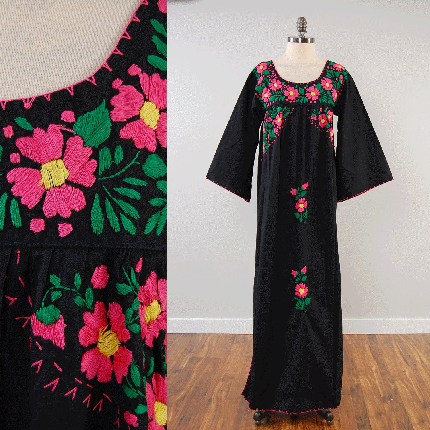 Vintage s black mexican embroidered floral maxi dress with