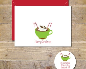 Christmas Cards,  Holiday Cards, Hot Chocolate, Candy Canes,  Christmas Card Set, Handmade, Merry Christmas, Hot Cocoa