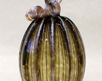 Hand Blown Glass Art Sculpture  Pumpkin Oneil 7229 sargasso
