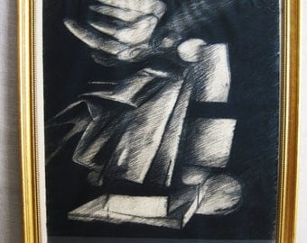 Drawing, Drawing on Paper, Charcoal Drawing, Mid-Century, Original Art, Framed Drawing, Large, Abstract Art, Fine Art, Drawing, Hand Drawn