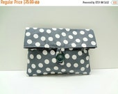 ON SALE READY To Ship Polka Dot Clutch In Gray Makeup Bag Cosmetic Bag Bridesmaid Gift