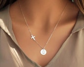 Sterling Silver Initial Disc with Cross Necklace, Sterling Silver Disc, Sterling Silver Cross, Personalized Necklace, Jewelry of Faith