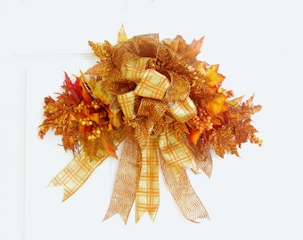 Glittered Orange Swag, Fall Swag, Fall Wreath, Autumn Swag, Fall Decor, Front Door Wreath, Thanksgiving Swag, Autumn Decor