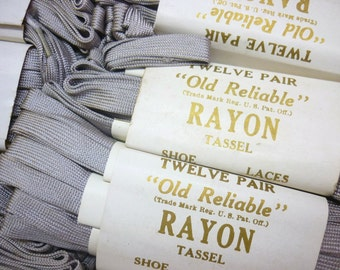 """21"""" Vintage Shiny Grey Rayon Tassel Shoe Laces for Vintage Shoes - Flat Woven Grey Rayon Shoelaces by Old Reliable - Shoestrings - Bootlaces"""