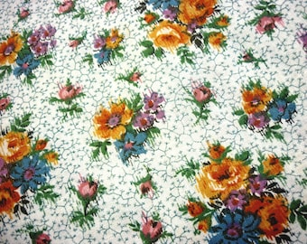 """2+ Yards Vintage Cream Cotton Floral Fabric with Ochre, Blue, Pink Roses and Sprigged Thistle Pattern - Quilting Flowers 2 Yds 6.5"""" x 27"""""""