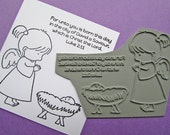 Angel & Baby Jesus Stamp - Unmounted Rubber Stamp - Paper Craft - Christmas - Stamps for Bible Journaling - Illustrated faith, Card making