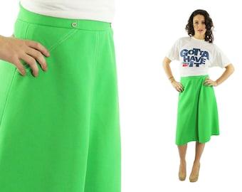 Vintage 70s Flared Skirt A Line Knee Length Lime Green Womens Fashion 1970s Medium M VIVO
