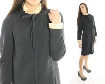 Vintage 60s Ascot Dress Ruffled Grey Knit Sweater Dress Long Sleeve Wool 1960s Designer Fashion Tuxedo Medium M Gino Charles