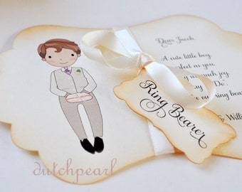 Will you be our RINGBEARER INVITATION CARD in gift box with satin ribbon - personalized  wedding dutchpearl - ring bearer page boy