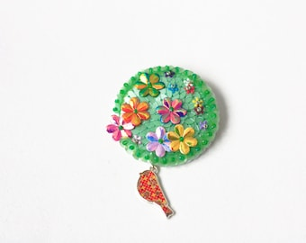 Flower Bird Brooch, Green Willow Sequins, Felt Sequin Embroidery, Spring Flowers Bloom, Blossom Nature Jewelry, Big Modern Statement Pin