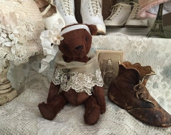 Vintage old world Edith worn style teddy bear Vintage Style artist mohair teddy bear handmade from viscose made by Olive Grove Primitives
