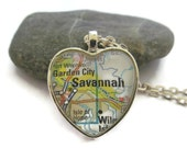 Savannah Georgia Map Necklace, Savannah Jewelry, Georgia Jewelry,Heart Pendant with Chain, Bronzed or Silver