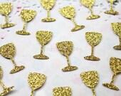 100 wine glasses - Paper Confetti - Gold Confetti - Christmas and Party Confetti - Glass Wine Confetti - 100% Handmade. Ready to Ship.