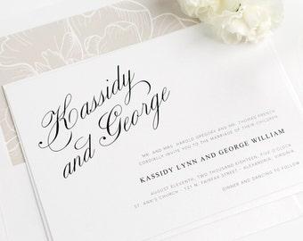 Mocha Wedding Invitation - Brown, Taupe - Peony, Floral - Classic - Elegant - Charming Elegance Wedding Invitation - Sample Set