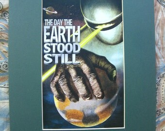 The Day The EARTH STOOD STILL Matted Marquis Print - 9 by 12 Inch Retro Science Fiction Horror Artwork