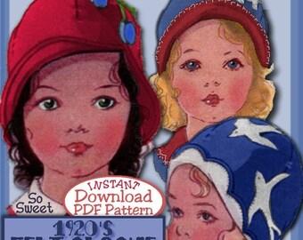 Sweetest Toddler's 1920's FELT Cloche Hat e-pattern FLAPPER ERA  3 Styles Pdf Vintage e-pattern