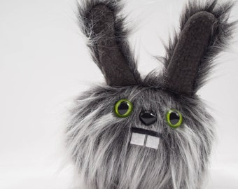 Plush Dust Bunny.... Rabbit stuffed animal handmade in Seattle...Green eyes