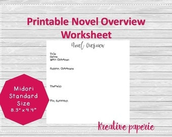 Novel Overview Worksheet Printable Traveler's Notebook Pages, Midori Inserts, Bullet Journal Standard Size