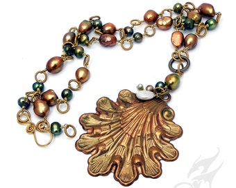 HUGE Pearls Statement Necklace Sea Goddess Golden Green White Colorized Brass Clamshell Artisan Jewelry N0328 by Robin Taylor Delargy
