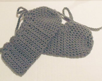 Pewter Grey Crochet Slippers, Crochet Mary Janes, Womans Slippers, Size 10 Shoes