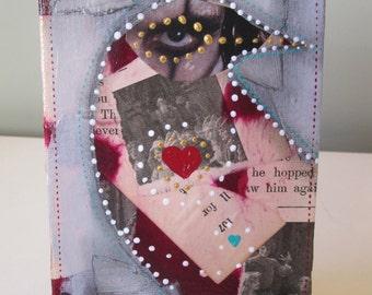 Mini mixed media collage, recycled tiny art